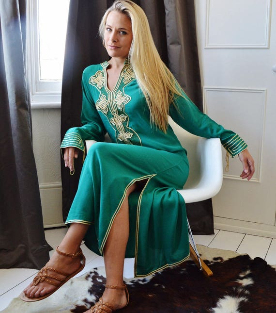 Moroccan Aisha dress Dress Autumn Maternity winter birthday Kaftan dress Caftan Emerald loungewear resortwear Honeymoon Green qZYSt