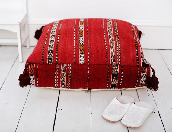 23''x23'' x 7'' Tribal Vintage Moroccan pouf, Red Berber pouffe, Floor cushion, Moroccan pouf, Square Pouf, Floor Ottoman, gifts