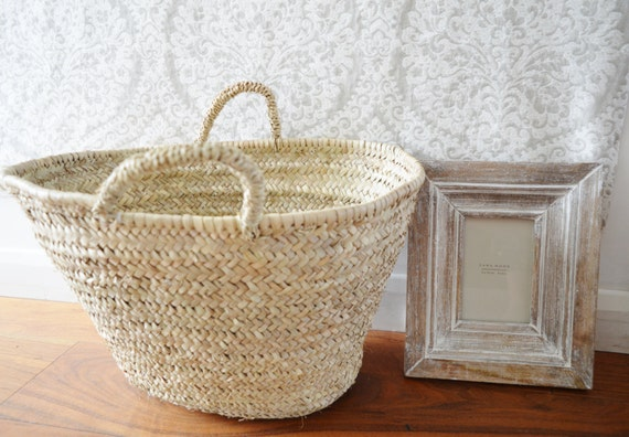 Spring Christmas gifts, Marrakech Natural Basket Panier -great for Storage, nursery, beach, shopping bag, holiday, Laundry Basket Bag