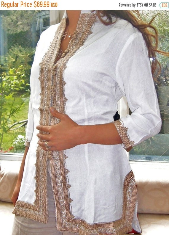Spring Spring Handmade White & Gold Moroccan Tunic, dress,beach kaftan,,holiday wear,,s,