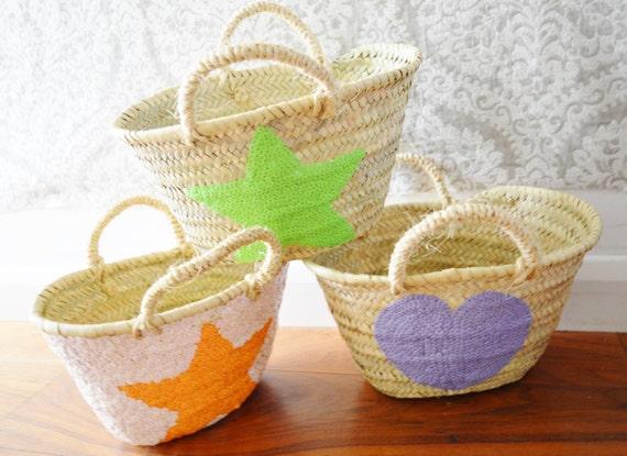 Spring Kids Basket Panier Various Shapes -great for Storage, nursery, beach, picnic, holiday, Marrakech Basket Bag, , Eid,,summer dress