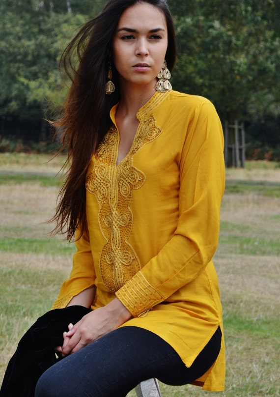 Dark Yellow  Moroccan Bedouin Tunic- tunic, shirt, moroccan shirt, resort wear, lounge wear, beach wear, handmade tunic, Ramadan, Eid