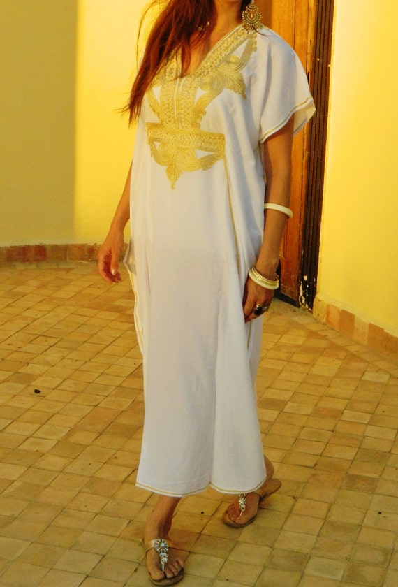 Maternity wear Marrakech - White with Gold Embroidery,boxing day sale,summer dress,beach kaftan,Easter