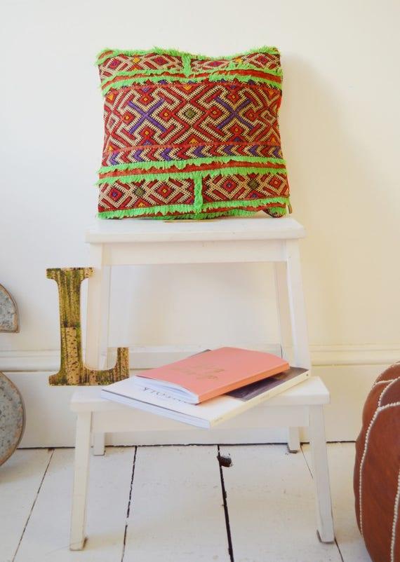 Vintage Moroccan Neon Green Trim Pattern Kilim Berber Carpet Cushions-lumbar, vintage cushions, christmas gifts, gifts, No.16, Ramadan, Eid