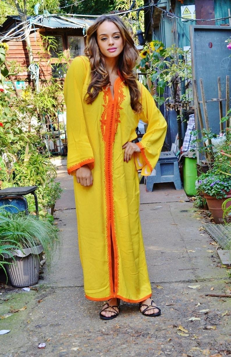 Winter gelb Orange marokkanische kaftan Kleid lang Lella ...