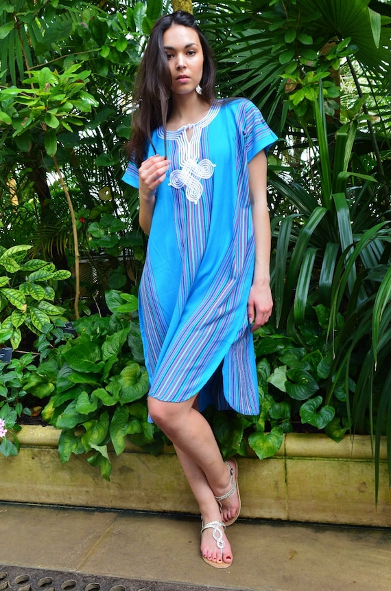 New Turquoise Blue Bedouin Resort Short Tunic Caftan Kaftan - Summer dress, spring dress,beach cover ups, resortwear,loungewear, birthdays