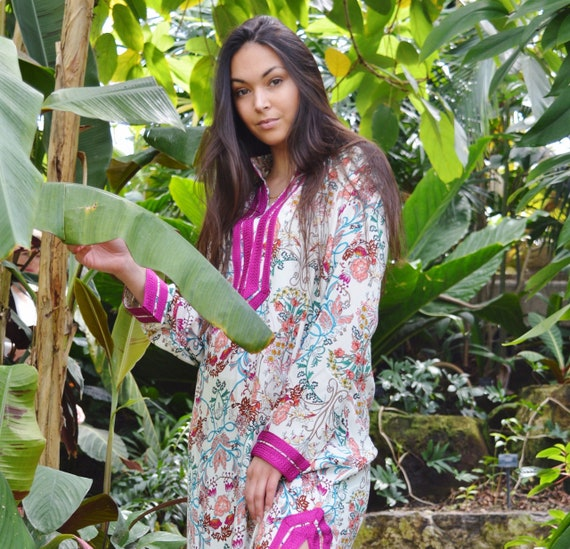 Floral Mariam Style Caftan Kaftan - loungewear,resortwear, beach kaftan, moroccan dress, holiday kaftan, maxi dress, boho dress