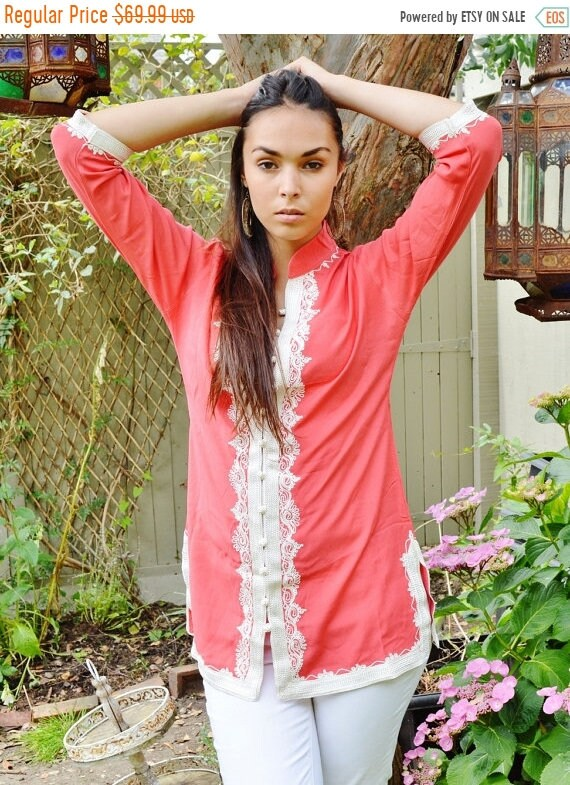 Kaftan Sale 20% Off/ Handmade Salmon Pink and White Moroccan Tunic-perfect for birthday gifts, holiday wear, casual wear