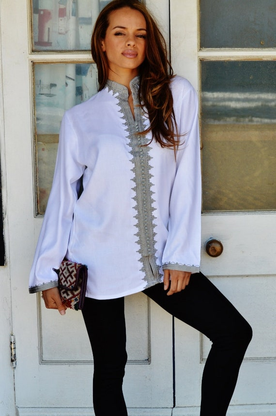 Boyfriend White Moroccan Kalina Shirt-women's shirt, resortwear, gifts, bohemian, winter shirt,White Shirt, spring shirt, gifts