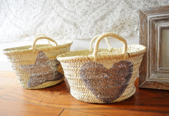 Summer February Trend- Kids Basket Panier Silver- Storage, nursery, beach, picnic, holiday, Marrakech Basket Bag, , Eid,,beach kaftan,