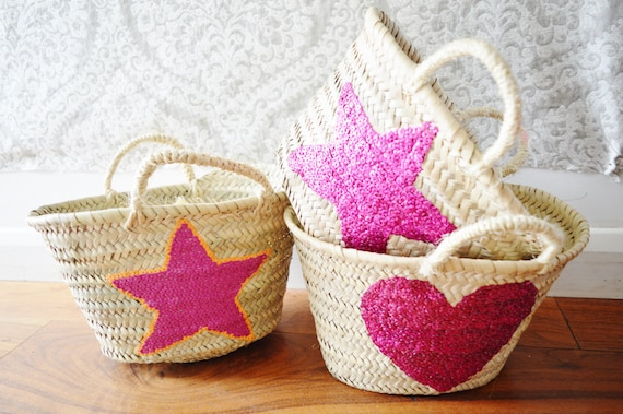 Winter Kids Basket Panier -great for Storage, nursery, beach, picnic, holiday, Marrakech Basket Bag, , Eid,,christmas gifts,christmas gifts
