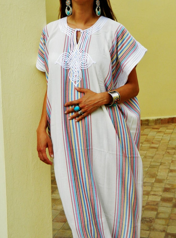 Resort Caftan Kaftan Bedoin Style- White-Perfect as loungewear, as beachwear, beach cover ups,resortwear, Kaftan, maternity, birthday gifts