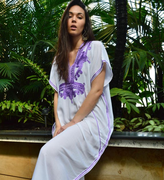 White Purple Marrakech Resort Caftan Kaftan -Spring dress,Summer dress, trendy, beach cover ups, resortwear,maxi dresses, birthdays, h