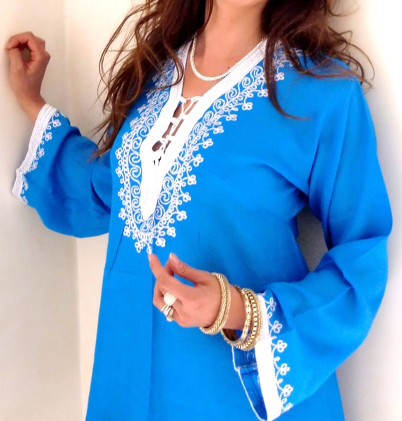 Blue Traditional Marrakech Tunic Shirt- Great for Mothers day, Loungewear, Beachwear,Coverup, Birthday, Valentines day & Honeymoon gifts