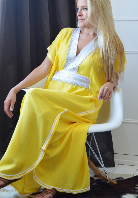 Yellow Caftan Kaftan Resortwear -Luxury loungewear, resortwear,spa robe,  beach cover up, honeymoon, Birthdays or Maternity Gifts,, lounge