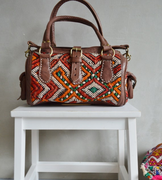 Bag Moroccan Red Orange Kilim Leather Satchel Cross Shoulder Straps Berber style-bag, tote, handbag, purse, gifts, Ramadan, Eid