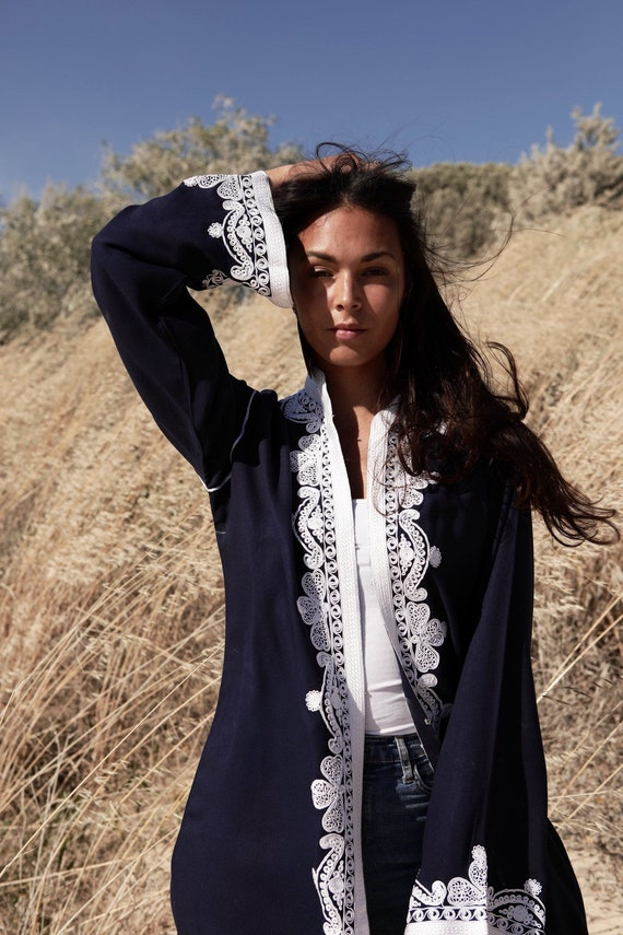 Cotton Kimono Jacket Moroccan Embroidery with hooks-boho wear, birthday gifts, bohemian jacket, velvet, mother's day, dress