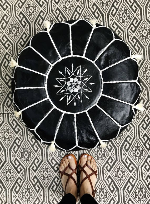 30% OFF Pouf Sale>> Black with White Stitching Moroccan Leather Pouf with Tassels & Pompoms >>  Home gifts, wedding gifts, Ramadan, Eid