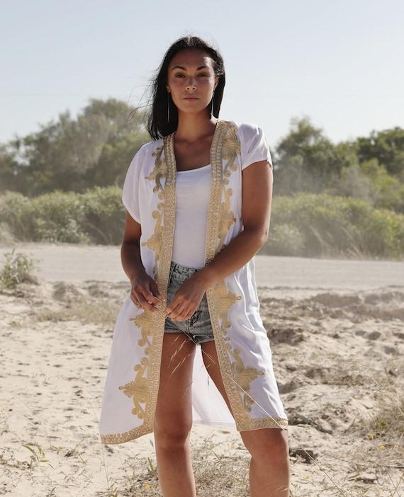 Jacket,caftan birthday gifts NEW White Gold Marrakech Stay Home Kimono Kaftan-Spring Kimono kimono beach caftan,Beach Kimono,robe gown
