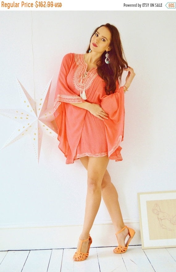 Kaftan Sale 20% Off/ Salmon Pink Embroidery Resort Tunic Cover up-perfect for birthday gifts, holiday wear, beachwear, beach wedding, matern