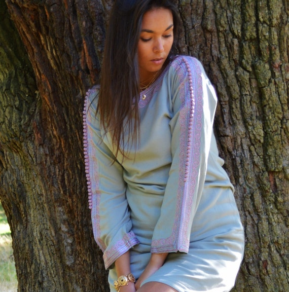 Christmas Gifts-Grey Lilac Trumpet Sleeve Tunic Dress-Latishia Style- great for holiday gifts , Birthdays Gifts for her, boho dress