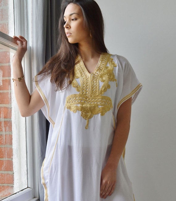 Resort Caftan Kaftan Marrakech Style- White with Gold Embroidery, great for beach cover ups, resort wear, loungewea
