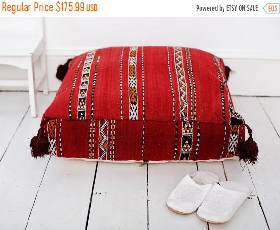Pouf Sale 30% Off// 23''x23'' x 7'' Tribal Vintage Moroccan pouf, Red Berber pouffe, Floor cushion, Moroccan pouf, Floor pouf, Square Pouf,