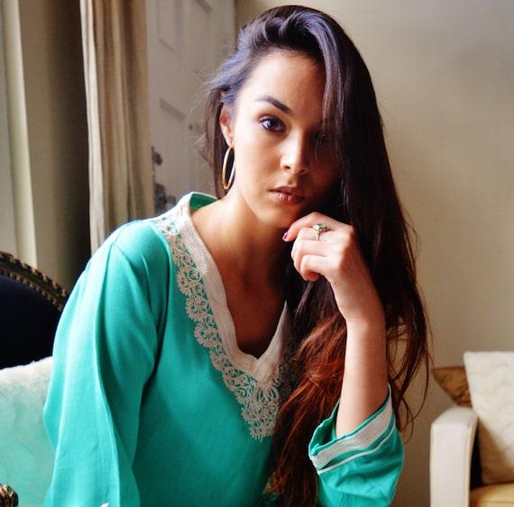 Leila Light Green Bohemian Caftan Kaftan -loungewear,resortwear, for gifts for her, beach, bridesmaids gift,  or Maternity Gifts,winter sale