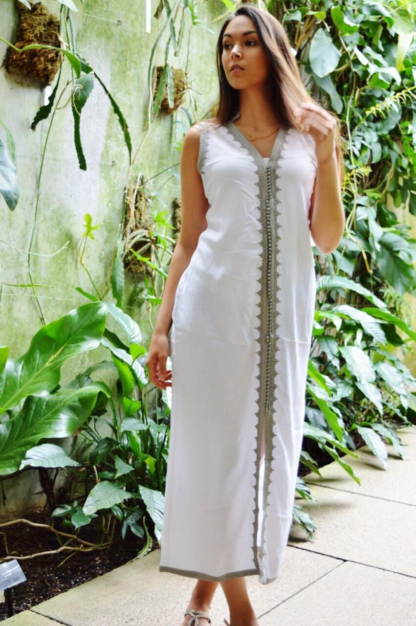 85179b8bec4 White Kaftan Dress Non Sleeve Kaftan Caftan-Khalida-Resort Kaftan ...