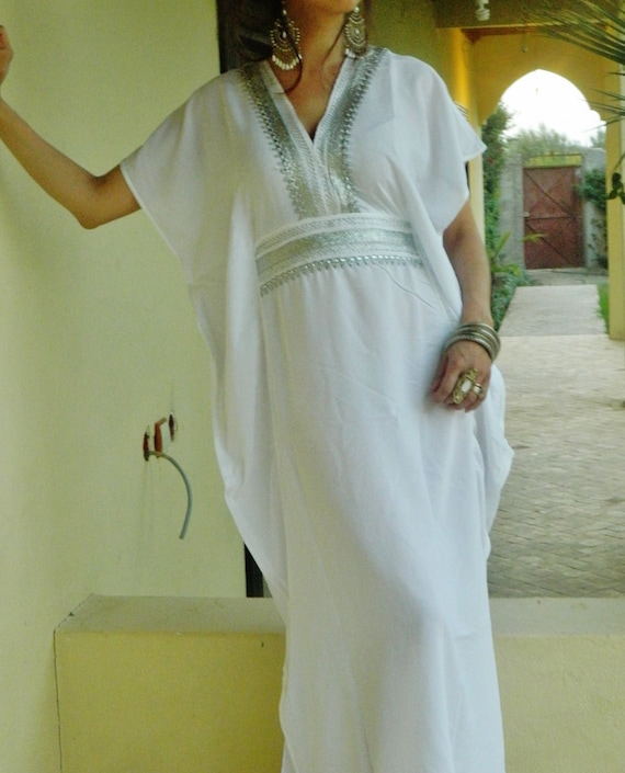 White Caftan Kaftan Resortwear -Luxury loungewear,  as resortwear,spa robe,  Mothersday gift, Birthdays or Maternity Gifts,beach kaftan