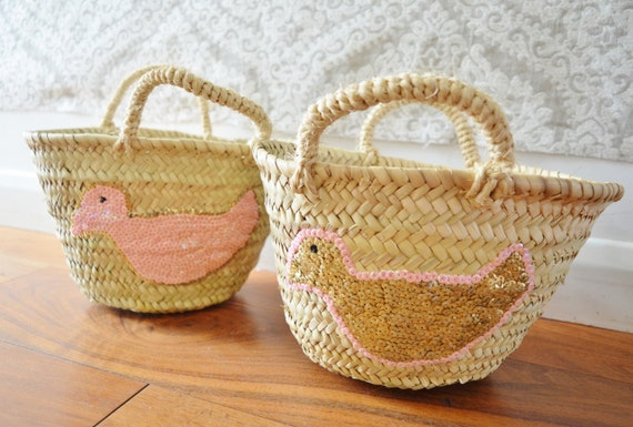 Winter  February Trend- Kids Basket Panier Pink - Storage, nursery, beach, picnic, holiday, Marrakech Basket Bag, , Eid,,beach kaftan,