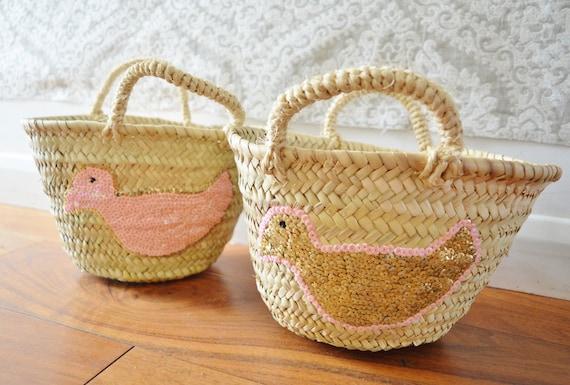 Spring February Trend- Kids Basket Panier Pink -great for Storage, nursery, beach, picnic, holiday, Marrakech Basket Bag, , Eid,