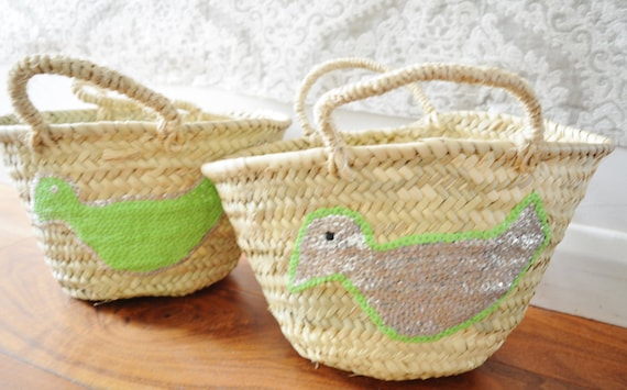 Winter February Trend- Kids Basket Panier Lime Green -great for Storage, nursery, beach, picnic, holiday, Marrakech Basket Bag, , Eid