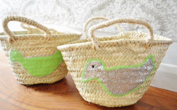Spring February Trend- Kids Basket Panier Lime Green -great for Storage, nursery, beach, picnic, holiday, Marrakech Basket Bag, , Eid
