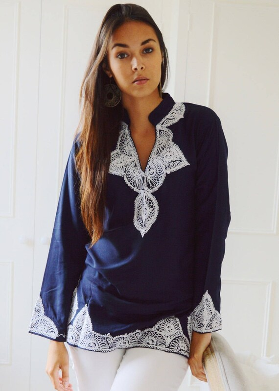 shirt White Autumn resort Salma Embroidery winter shirt wear Clothing with casual wear Tunic birthday gifts autumn Navy Sale xTwHrpqXT