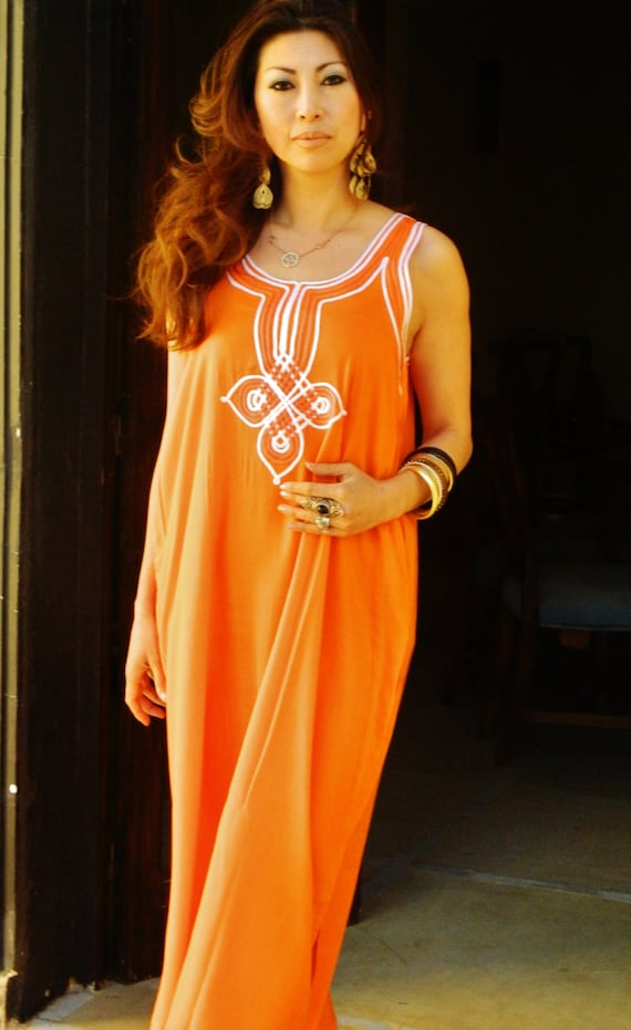 Kaftan Resort Non-Sleeve Orange  Agadir Style-Perfect for resortwear,loungewear, maxi dresses, birthdays, honeymoon, maternity gifts