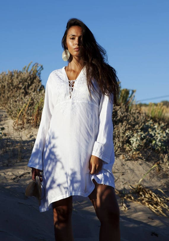 White Tunic Embroidered Dress-Karmia's Syle, for gifts, beach, resort, holiday, bohemian wear, boho, Moroccan, Ramadan, Eid