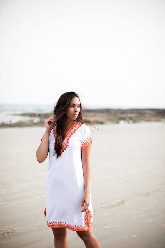 White with Orange Tunic Dress Summer Dress -Lena Style-women's dresses, bohemian, resortwear, holiday wear, gifts, beach wear, bohemian