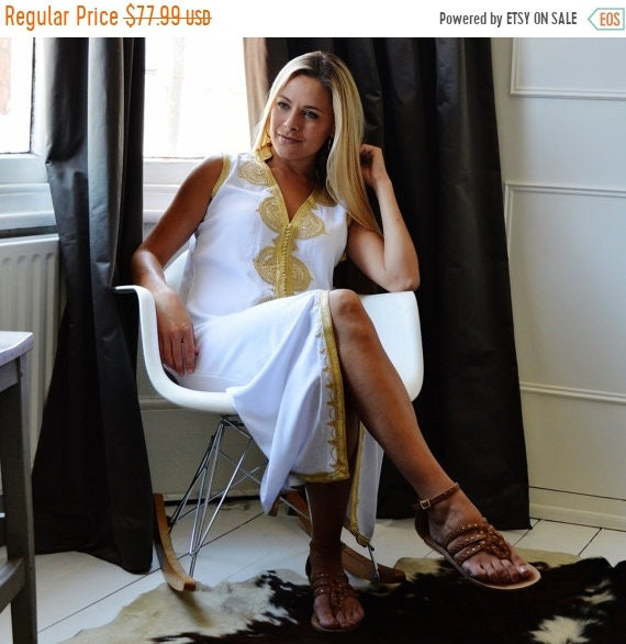 Kaftan Sale 20% Off/ White Kaftan Non Sleeve Boho Caftan-Kenza-Kaftan, Caftan, resort wear, lounge wear,beach cover up, beach wear, beach we
