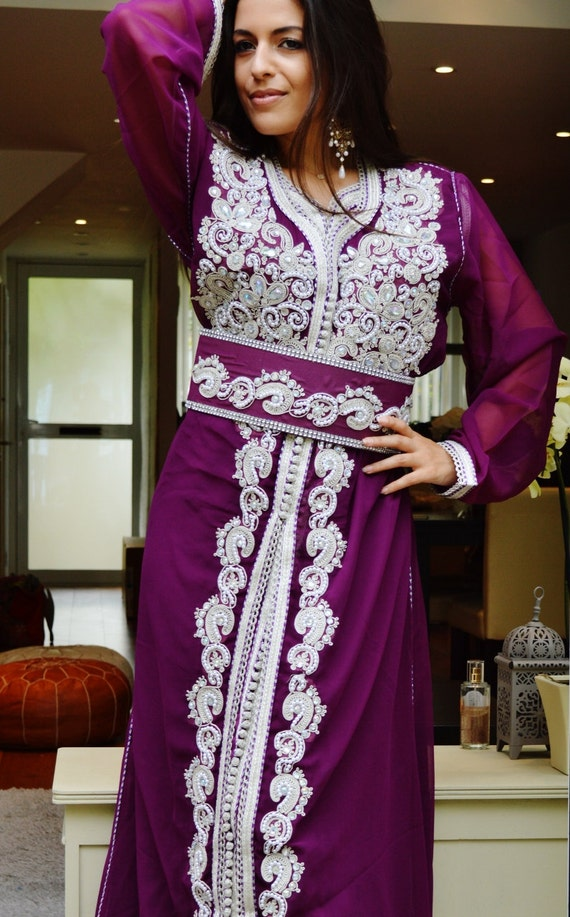 Moroccan Modern Purple White Embroidery Caftan Kafan-Amelia-moroccan parties, weddings,abbayas, , , anniversary gift,winter sale