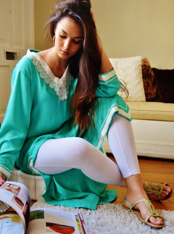 Winter Leila Light Green Bohemian Caftan Kaftan -loungewear,resortwear, for Mothers day gift, Birthdays or Maternity Gifts, Ramadan, Eid