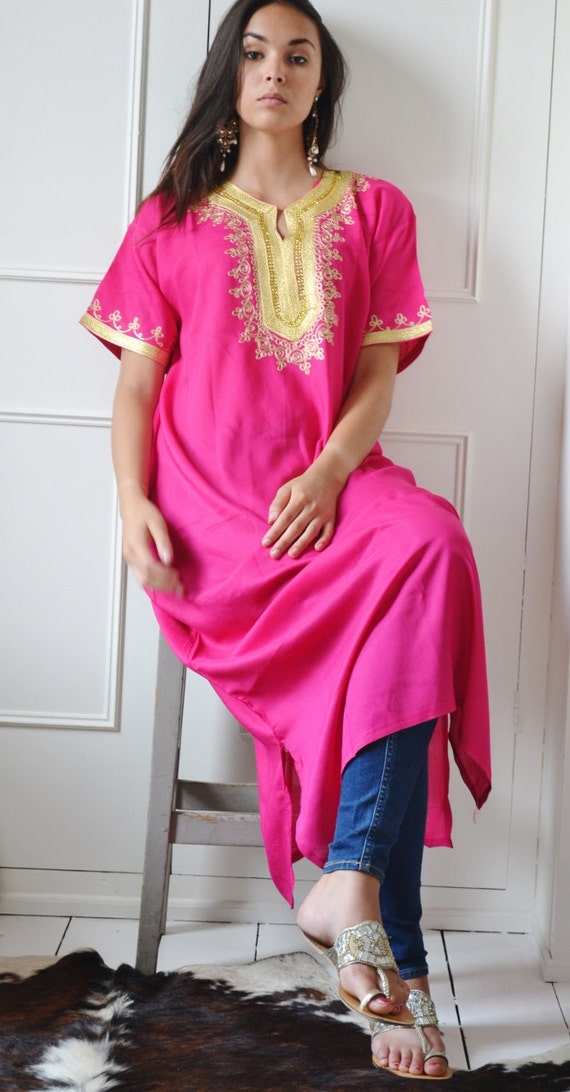 Kaftan Moroccan Boho Pink Resort Caftan Fez-Kaftan,Caftan,beach coverup,loungewear,maxi dress, birthdays, honeymoon, maternity, eid gifts