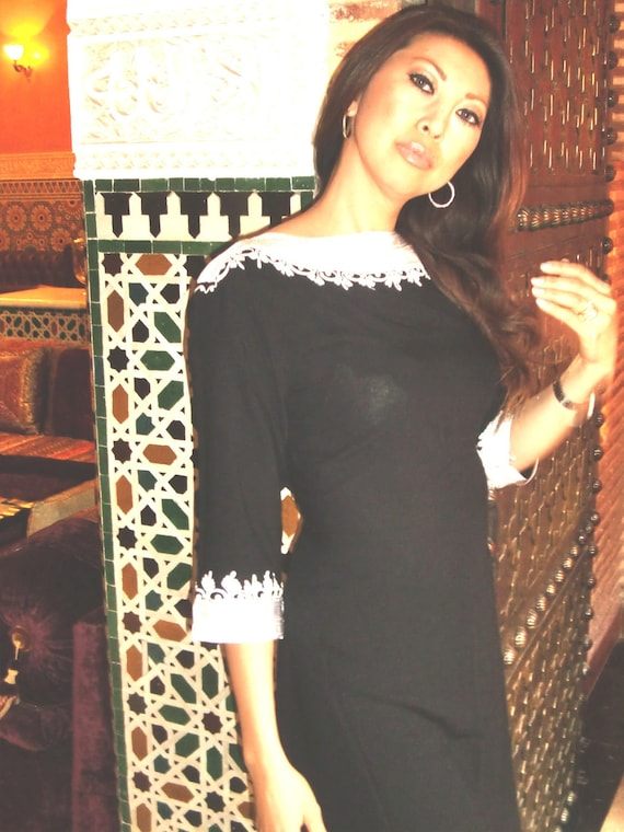 Winter Winter Black Classical Tunic Dress- Reina Style, Eid,, gifts,,,s,,Black Friday