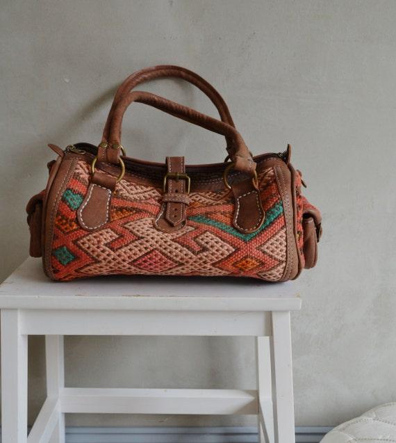 Trendy Winter Finds Moroccan Orange Kilim Leather Satchel Cross Shoulder Straps Berber style-bag, tote, handbag, purse, gifts, Ramadan, Eid