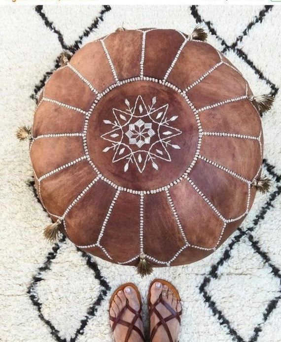 Tan Brown Moroccan Leather Pouf with TASSELS & POMPOMS-Home gifts,wedding gifts, anniversary gifts, foot stool, decor,
