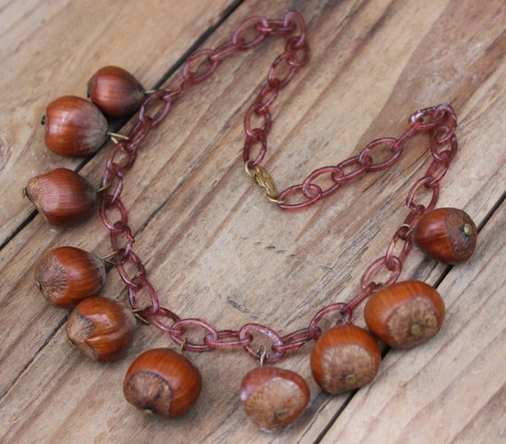 "Vintage Necklace Celluloid & Real Nuts 16"" Long Vi"