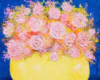 ROSE painting, Canvas Art, Abstract Flower Painting, Rose Art, Still Life,  pink roses, Jan Matson