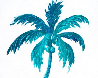 Coconut Palm Tree painting, tropical painting, coastal, Florida palm trees, bathroom art, Hawaii palm tree, Etsy Art, Jan Matson