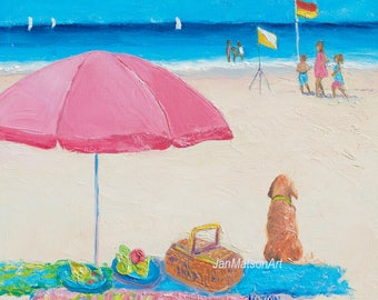 Beach painting, beach scene, beach decor, seaside art, seascape, Jan Matson