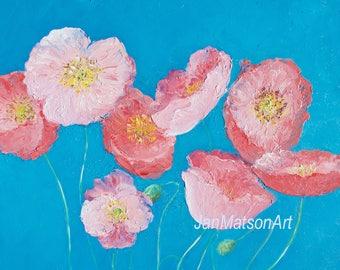 POPPY painting, flower painting, poppy art, floral art, pink poppies, Impressionist art, flower oil painting, interior design, Etsy Art
